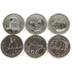 2011-2013 Canada 6-Coin 1oz Wildlife Series Fine Silver Coin Set (Tax Exempt). This set includes the