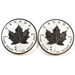 Pair of 2018 Canada $5 Edison Light Bulb Privy Mark Silver Maple Leaf Coins (Tax Exempt). 2pcs.