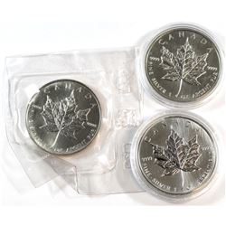 1988, 1989, 1990 Canada 1oz Fine Silver Maple Leaf Collection (Tax Exempt). 3pcs.