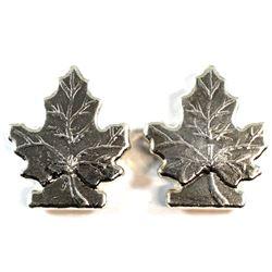 Pair of Beaver Bullion 2oz .999 Silver Maple Leaf Art Bars (Tax Exempt). 2pcs