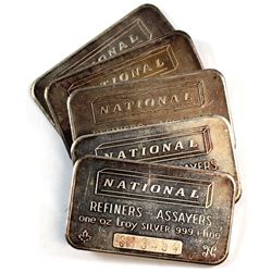 Vintage National Refiners 1oz Fine Silver Bar Collection (Tax Exempt). Serial #'s 383344, 383345, 38