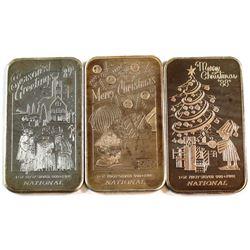 Vintage National Refiners 1oz Fine Silver 1988 & 1989 Season Greetings Art Bars (Tax Exempt). 3pcs.
