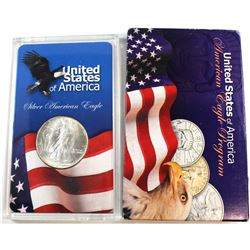 1986 United States 1oz Fine Silver American Eagle in Acrylic Display (Tax Exempt). Please note coin