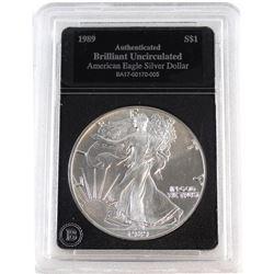 1989 United States 1oz Fine Silver American Eagle Brilliant Uncirculated (Tax Exempt).