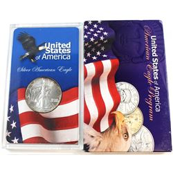 1991 United States 1oz Fine Silver American Eagle in Acrylic Display (Tax Exempt). Please note coin
