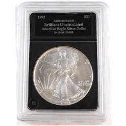 1992 United States 1oz Fine Silver American Eagle Brilliant Uncirculated (Tax Exempt).