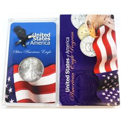 1993 United States 1oz Fine Silver American Eagle in Acrylic Display (Tax Exempt). Please note coin