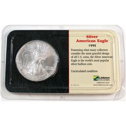 1995 United States 1oz Fine Silver American Eagle in Presentation Display (Tax Exempt). Please note