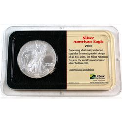 2000 United States 1oz Fine Silver American Eagle in Presentation Display (Tax Exempt). Please note