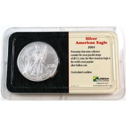 2001 United States 1oz Fine Silver American Eagle in Presentation Display (Tax Exempt). Please note