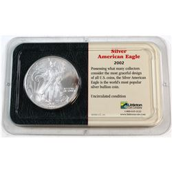 2002 United States 1oz Fine Silver American Eagle in Presentation Display (Tax Exempt). Please note