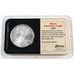 2003 United States 1oz Fine Silver American Eagle in Presentation Display (Tax Exempt). Please note