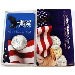 2005 United States 1oz Fine Silver American Eagle in Acrylic Display (Tax Exempt). Please note coin