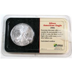 2006 United States 1oz Fine Silver American Eagle in Presentation Display (Tax Exempt). Please note