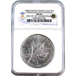 2008 Canada $5 Vancouver Olympics ML NGC Certified MS-69 (Tax Exempt).