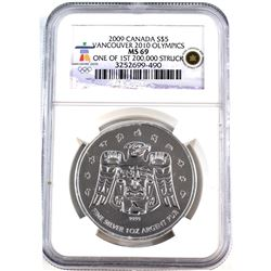 2009 Canada $5 Vancouver Olympic Raven ML NGC Certified MS-69 (Tax Exempt).