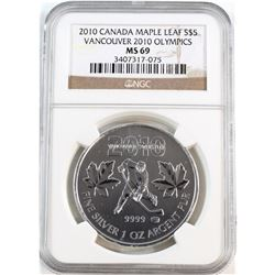 2010 Canada $5 Vancouver Olympic Hockey ML NGC Certified MS-69 (Tax Exempt).
