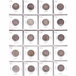 Estate Lot 1903-1936 Canada Silver 25-cent Collection. You will receive 20 coins dated between 1903
