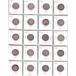 Estate Lot 1909-1934 Canada Silver 25-cent Collection. You will receive 20 coins dated between 1909