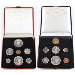 1867-1967 Specimen sets in Red & Black Cases. The Red Case set comes with the Issued Medallion. Blac