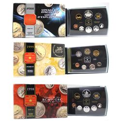 1998 Proof Set, 1999 Nunavut Specimen Set, & 2000 Proof Set Collection. Please note coins may contai