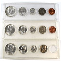 Lot of 3x 1964 USA 5-coin Year Sets in Hard Plastic Holders. One of the sets is missing the Penny. 3