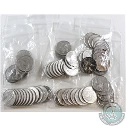 Lot of 62x Canada Commemorative 25-cents. You will receive 12x 1992, 24x 1999, 12x 2000 & 14x 2002-2