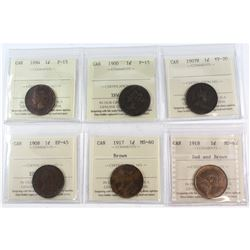 1894-1918 Canada 1-cent ICCS Certified - 1894 F-15, 1900 F-15, 1907H VF-20, 1908 EF-45, 1917 MS-60 B