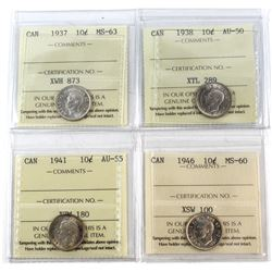 1937-1946 Canada 10-cent ICCS Certified - 1937 MS-63, 1938 AU-50, 1941 AU-55 & 1946 MS-60. 4pcs
