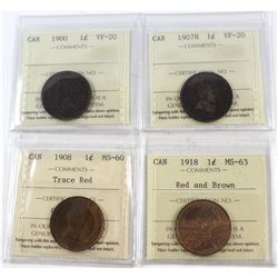 1900-1918 Canada 1-cent ICCS Certified - 1900 VF-20, 1907H VF-20, 1908 MS-60 Trace Red & 1918 MS-63