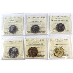1992-2015 Canada 25-cent, 50-cent & Loon $1 ICCS Certified - 1992 25-cent MS-67 NBU, 1997 25-cent MS