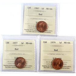 1967, 1977, & 1979 Canada 1-cent ICCS Certified MS-66 Red. 3pcs.