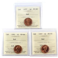 1977, 1991, & 1997 Canada 1-cent ICCS Certified MS-66 Red. 3pcs.