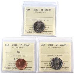 1963 Canada 5-cent, 2002 Canada 1-cent Red, 2007 Canada 5-cent ICCS Certified MS-65. 3pcs.