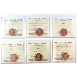 2001-2012 Canada 1-cent ICCS Certified MS-66 Red. You will receive 2001, 2003, 2004, 2005, 2007, & 2