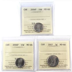 2007 Canada 5-cent, 2004P Canada 10-cent, & 2006P 10-cent ICCS Certified MS-66. 3pcs.
