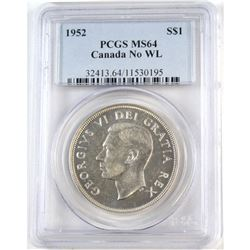 1952 Canada Silver $1 No WL PCGS Certified MS-64