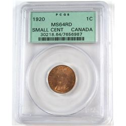 1920 Canada 1-cent Small PCGS Certified MS-64 Red