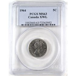 1964 Canada 5-cent XWL PCGS Certified MS-63
