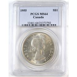 1955 Canada Silver $1 PCGS Certified MS-64