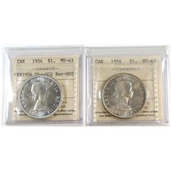 1954 Canada Silver $1 ICCS Certified MS-63 & 1954 Silver $1 Obv-002 Rev-002 Variety ICCS Certified M