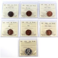 1955-1959 Canada ICCS Certified Lot. You will receive 1955 1-cent SF PL-62 Trace Red, 1955 1-cent SF