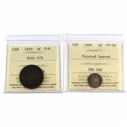 1859 Canada 1-cent Wide 9/8 ICCS Certified G-6 & 1909 5-cent Pointed Leaves VF-30. 2pcs