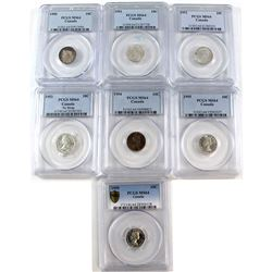 1950-1959 Canada 10-cent PCGS Certified MS-64 - 1950-1952, 1953 No Strap, 1954, 1955 & 1959. 7pcs