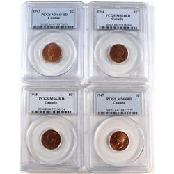 1943, 1944, 1945 & 1947 Canada 1-cent PCGS Certified MS-64 Red. 4pcs
