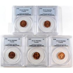 1952-1958 Canada 1-cent PCGS Certified MS-65 Red - 1952, 1955, 1956, 1957 & 1958. 5pcs