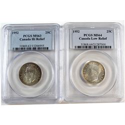 1952 Canada 25-cent Low Relief PCGS Certified MS-64 & 1952 25-cent High Relief MS-63. 2pcs
