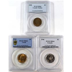 1942 Tombac, 1943 & 1946 Canada 5-cent PCGS Certified MS-64. 3pcs