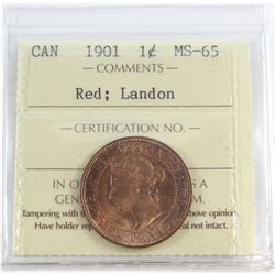 1-cent 1901 ICCS Certified MS-65 Red; Landon