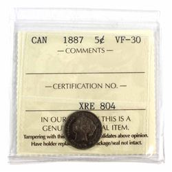 5-cent 1887 ICCS Certified VF-30